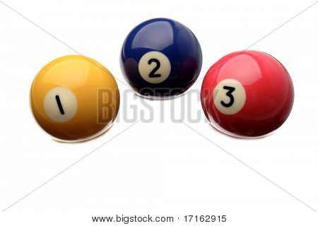 Pool balls isolated over white background