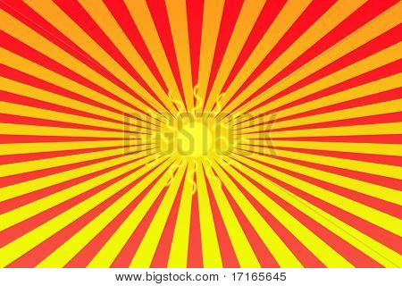 Sun symbol on bright abstract background.