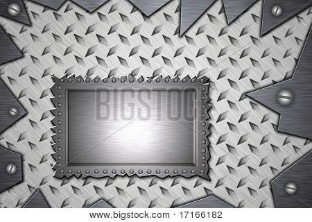 Blank panel riveted to diamond steel. Screws in torn metal.