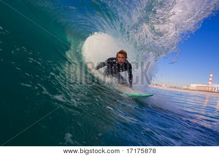 Surfer in Blue Tube