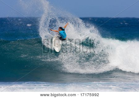 MAUI, HAWAII - DECEMBER 18, 2008:  Professional Surfer Melanie Bartels does a power turn during the Billabong Pro Maui - December 18, 2008 Maui, HI.