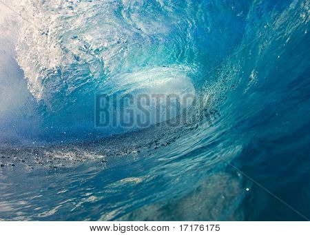 Bright Blue Wave, Point of View from inside the Tube, a Surfers Dream
