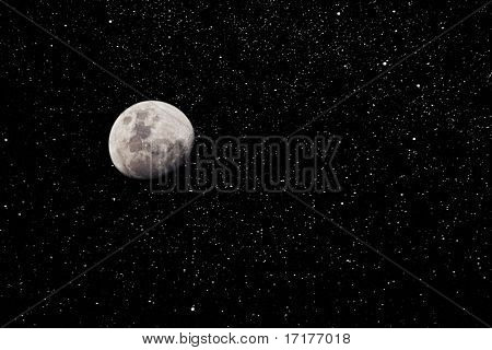 Moon and Starry Night Sky