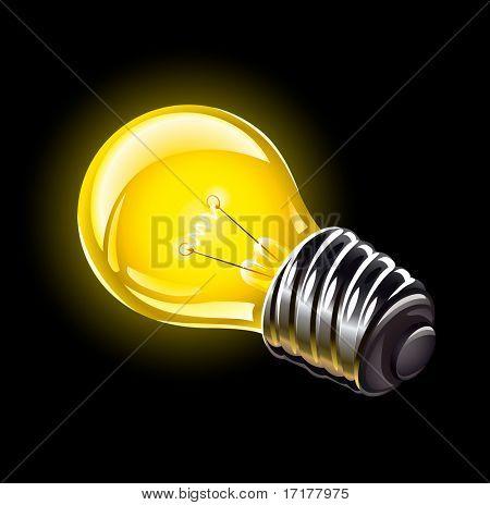 bombilla eléctrica iluminación ilustración del vector de dispositivo aislado sobre fondo negro