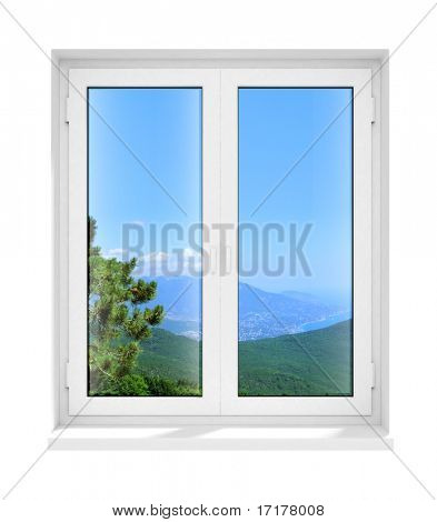 new closed plastic glass window frame isolated on the white background 3d model illustration