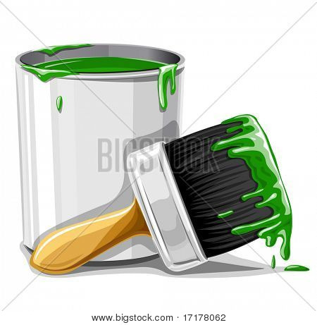vector brush with green paint and bucket isolated illustration