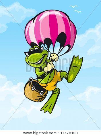 Rana de viajes volar en globo en el cielo azul con nubes vector carácter
