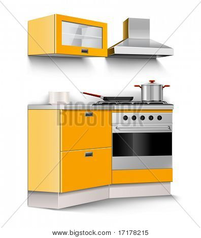 vector new kitchen room furniture isolated on white background