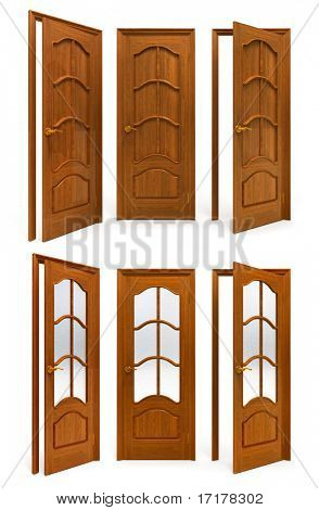 collection of interior wooden doors isolated on white background with clipping path included