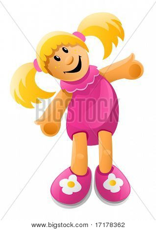 vector illustration of little doll toy in pink