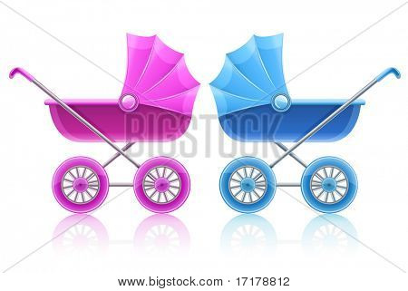 pink and blue carriages for baby transportation - vector illustration