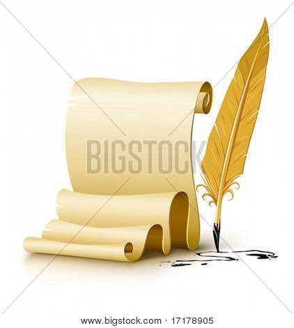blank paper script with old ink feather pen vector illustration, isolated on white background. Gradient mesh used for shadow drawing.