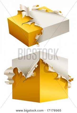 gift box in torn yellow packing vector illustration isolated on white background