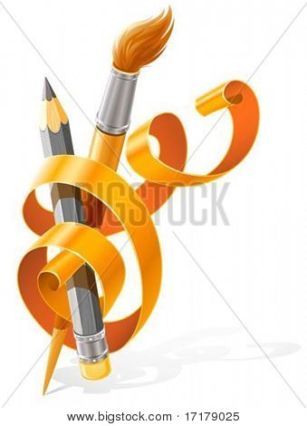 art tools pencil and brush braided by orange ribbon vector illustration, isolated on white background