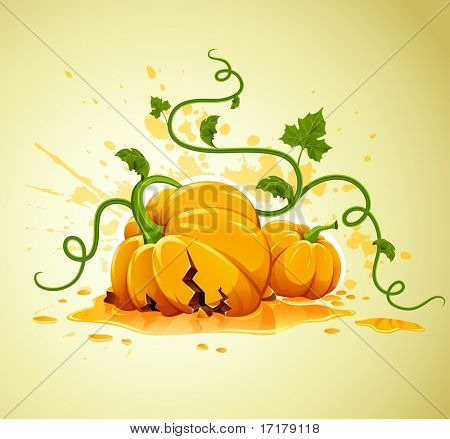 broken halloween pumpkin on grunge background vector illustration