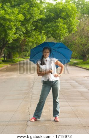 Beautiful Woman Holding Umbrella 1