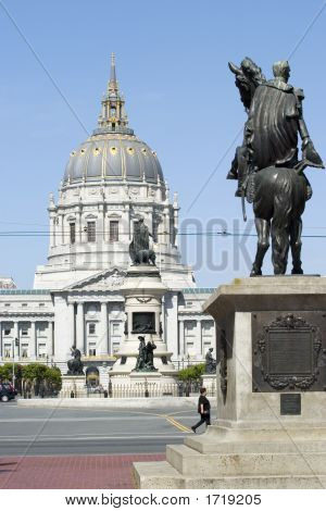 Statue With City Hall Dome Horse
