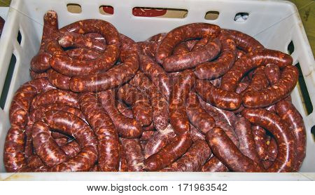 Beautiful and delicious local fresh sausages exposed for sale.