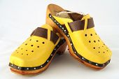 foto of mukluk  - antique yellow shoes or sandals with wooden bottoms - JPG
