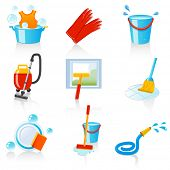 stock photo of cleaning agents  - cleaning icons - JPG
