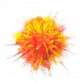 Color powder explosion background. Yellow with red-orange dust paint coloured explode for Holi Festi poster
