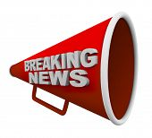 stock photo of interrupter  - A red bullhorn with the words Breaking News on it - JPG