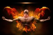On Fire Bodybuilder poster
