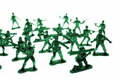 Toy soldiers over white