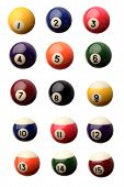 stock photo of pool ball  - Fifteen pool balls isolated over white - JPG