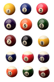 picture of pool ball  - Fifteen pool balls isolated over white - JPG