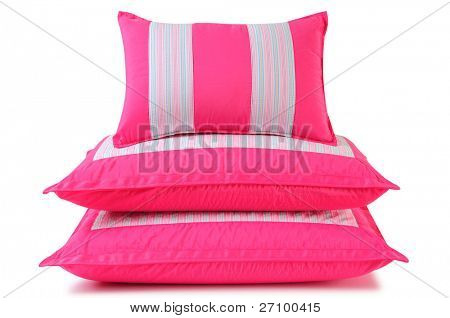 Pink pillows. Isolated