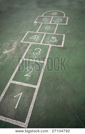 It is a hopscotch in yard for childern.