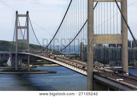 Tsing Ma Bridge in Hong Kong at day