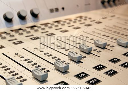 sound mixer with blurry background