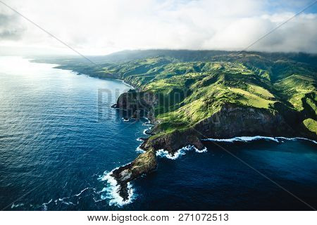 poster of Beautiful Aerial View Of Tropical Island Paradise Nature Scene Of Maui Hawaii On Clear Sunny Day Wit
