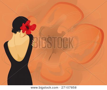 Girl With A Flower (also available vector version in this gallery)