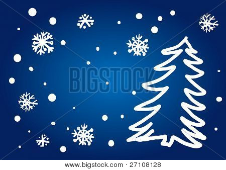 Christmas Tree Freehand (vector). In the gallery also available XXL jpeg image made from this vector