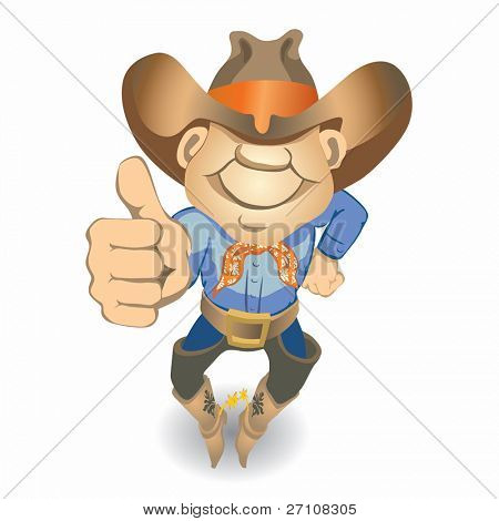 Thumbs Up Cowboy (vector). In the gallery also available XXL jpeg image made from this vector