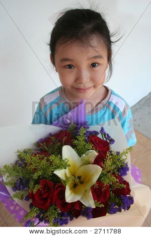 Girl Holding Bouquet