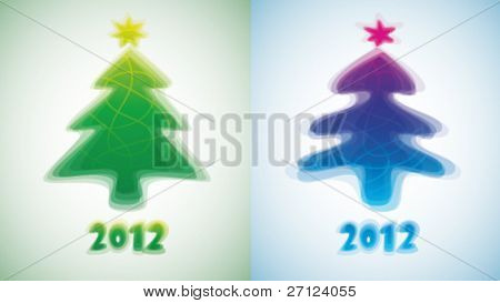 New Year's cards. Abstract Christmas trees.