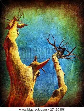 Dry desert grunge tree over blue sky, with old dirty texture effect