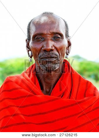 AFRICA,KENYA, SAMBURU - NOVEMBER 8: portrait of an African Chief of the Samburu tribe village posing for the camera, a review of daily life of local people near Samburu Park National Reserve on November 8, 2008 in Kenya