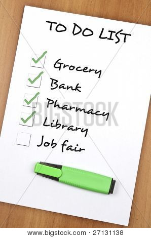 To do list with Job fair not checked