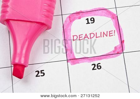 Calendar mark  with Deadline