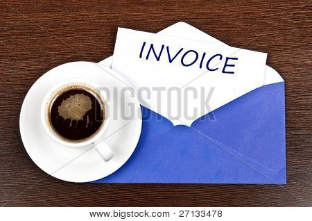 Invoice message and coffee
