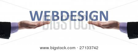 Webdesign message in male hands