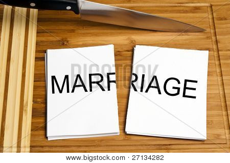 Knife cut paper with marriage word