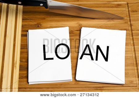 Knife cut paper with loan word