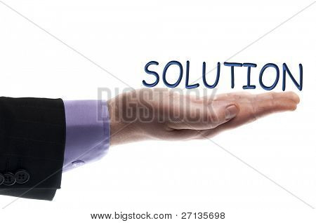 Solution word in male hand