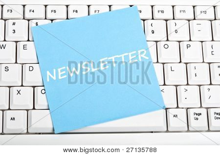 Newsletter mesage on keyboard
